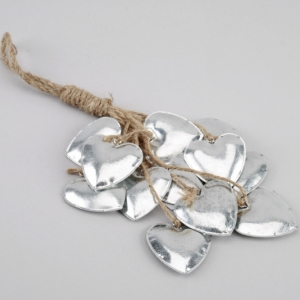 silver hearts on rope