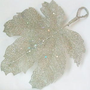 Large silver glitter leaf