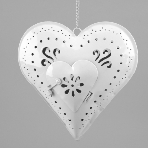 hanging white heart t-light holder