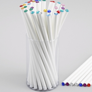 white pencil with crystal end