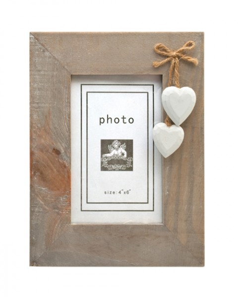 Rustic photo frame with white hearts
