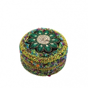 mini green beaded trinket box
