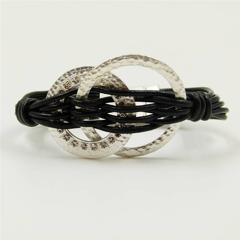 black leather bracelet with silver circles