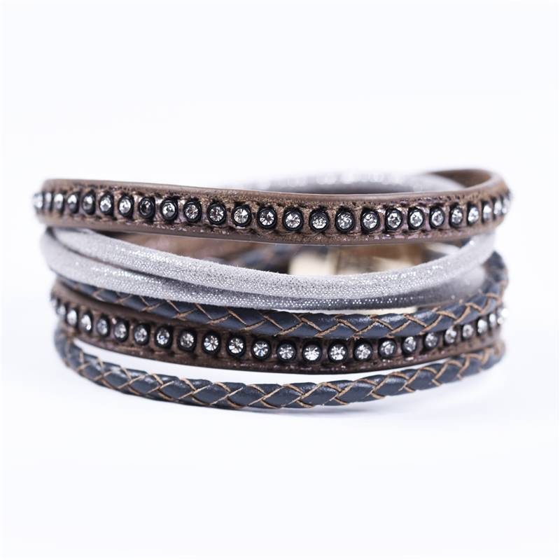 brown & grey multi-strap bracelet