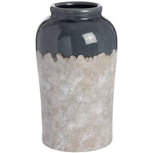 ceramic 15inch vase with blue grey neck