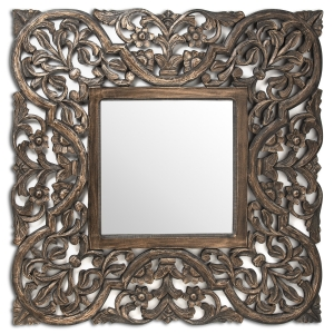 Grey wash carved mirror