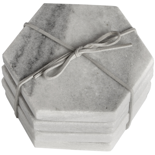 Grey marble hexagonal coasters 4 set