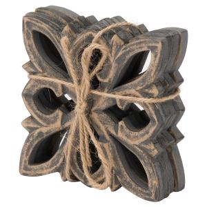 Hand-carved grey wash coasters 4 set