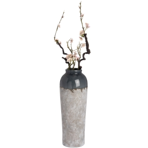 Large 22 inch ceramic vase with blue grey neck