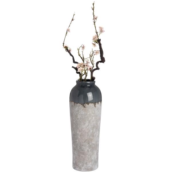 Large 22 inch ceramic vase with blue grey neck