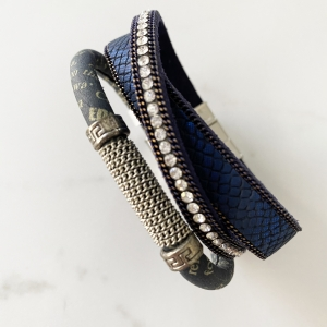 Navy leather three strand bracelet