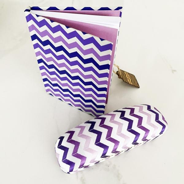 Purple chevron notebook and glasses case