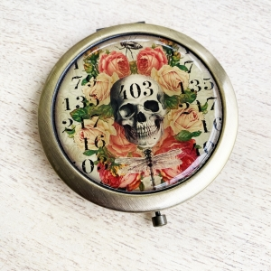 Skull and roses handbag mirror