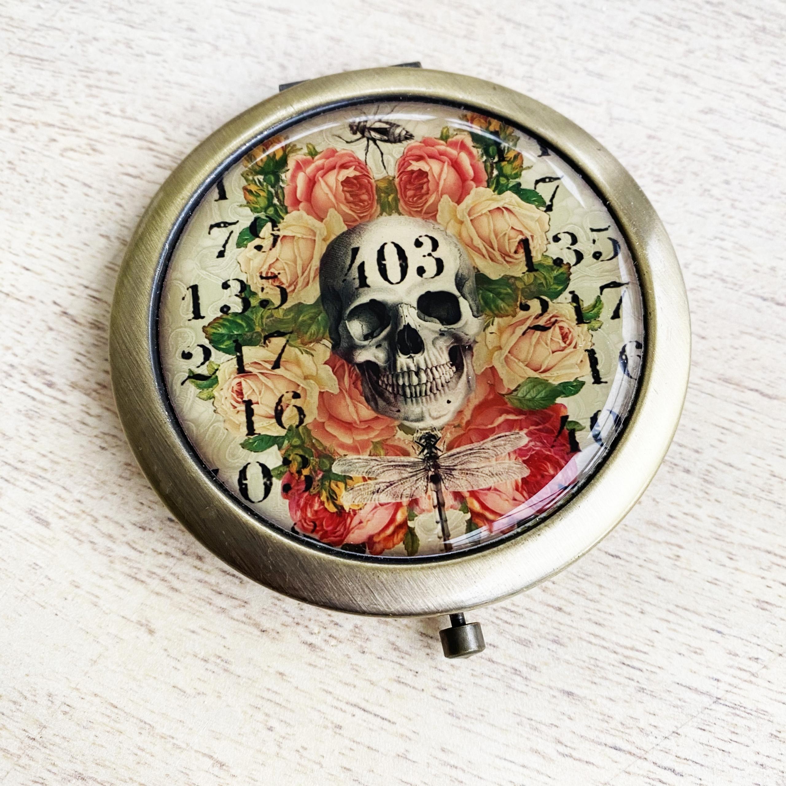 Skull and roses handbag mirror