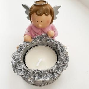 Pink angel t-light holder