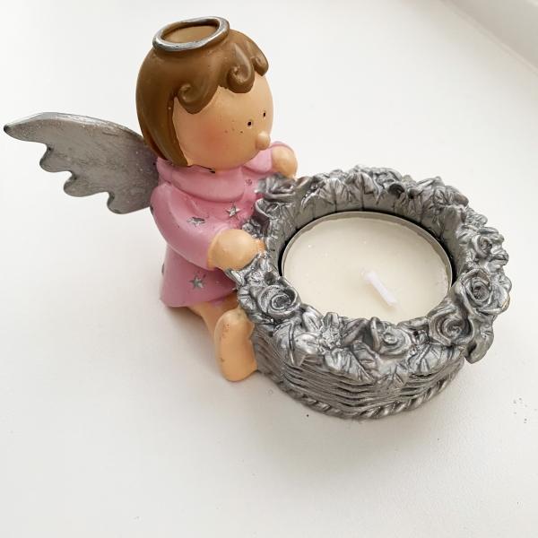 Pink angel t-light holder (side)